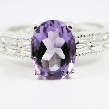 Lavender Amethyst Oval Engraved Ring, 925 Sterling Silver Ring, February Birthstone Ring, Amethyst Oval Ring, Lavender Amethyst ring