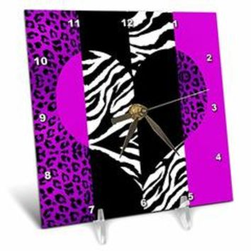 3dRose dc_35435_1 Purple Black and White Animal Print-Leopard and Zebra Heart-Desk Clock, 6 by 6-Inch - Sears