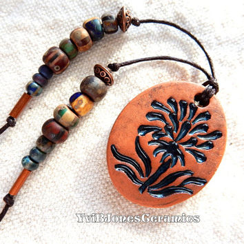 Bohemian Pottery Flower Necklace, Earthy Ceramic Jewelry, Boho terracotta pendant necklace