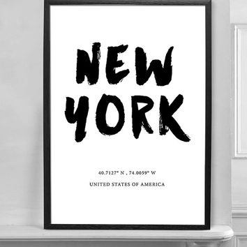 New York City America Black and White Typographic Print, Latitude Longitude Coordinates Art Home Decor Office Decor Art Poster Print