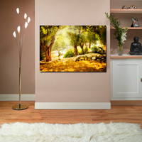 "Canvas Print Artwork Stretched Gallery Wrapped Wall Art Painting Elephant Forest Foliage Autumn Tree Large Size 26x37"" (can15)"