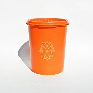 Vintage Tupperware Orange Servalier Canister - 6 Inches - Plastic Kitchen Container Storage