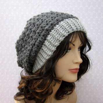 Gray Slouchy Crochet Hat - Womens Slouch Beanie - Oversized Cap - Fall Winter Fashion Accessories