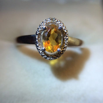 Vintage Citrine Ring with Diamond Accent Stones. Engagement Ring. GLA Certified.  November Birthstone.  ***Layaway Available****