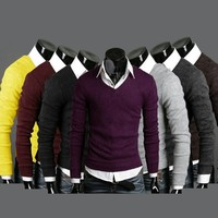 Mens Casual Stylish Slim Fit V-neck Knited Sweater