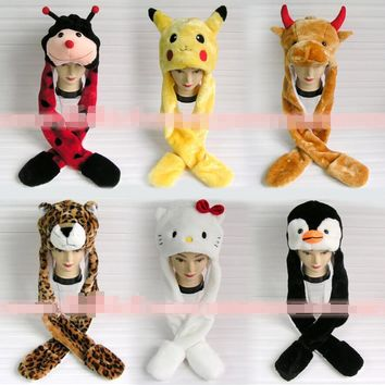 2015 New winter hat cartoon character animal cap ear protector plush beanies with long Scarf and Gloves set for women men child
