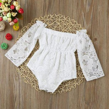 DCCK8JO Baby rompers White Newborn Infant Baby Girls Cute Lace Print Off Shoulder Princess Romper baby girls clothes drop shipping