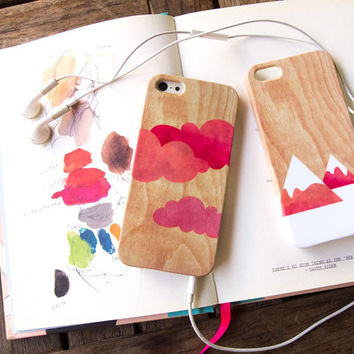 Set of 2 - Cloud iPhone case & Mountain iPhone case, iPhone 5 case, iPhone 4 case - Pink red orange watercolor on wood print