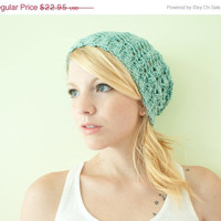 SALE Slouchy hat beanie crocheted - aquamarine - acrylic