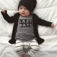 Cute 2 Piece (Lazy Days) Baby Outfit. Long Sleeve Shirt and Pants