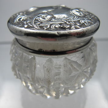Cut glass  jar Antique, Serling SILVER L