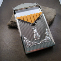 Silver Flip Top Steampunk Bunny Cigarette Case