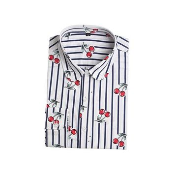 Women Cherry Blouses Long Sleeve Shirt Turn Down Collar Floral Blouse Camisas Femininas Women And Blouses