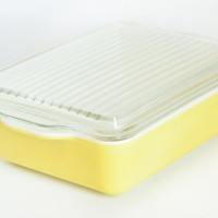 Vintage Pyrex Large Primary Yellow Refrigerator Dish with lid, Rectangular Baking Dish 503, 1 1/2 Quart
