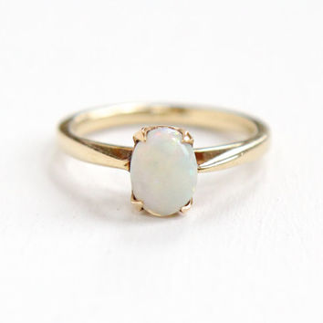 Vintage 14k Yellow Gold Opal Solitaire Ring - Mid-Century 1950s Fiery Gemstone Fine Jewelry Hallmarked Church & Company