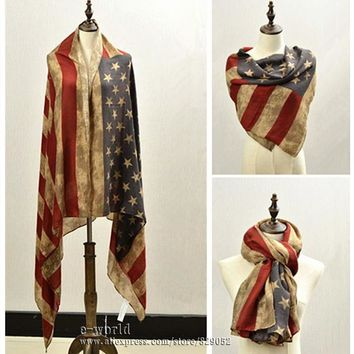 Vintage American Flag Infinity Scarf 4th of July USA Flags Big Size Scarves Soft Hijab Pashmina Shawls Girls Accessories A0499