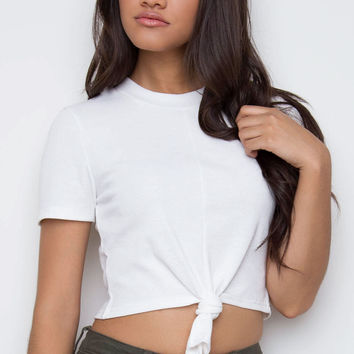 No Hang Ups Knotted Top - White