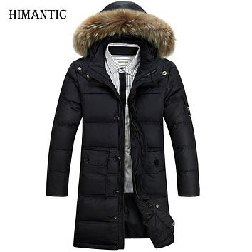 Winter Jacket Men White Duck Down Long Jackets Keep Warm Coat Casual Men thick Down Overcoat Outwear parka