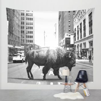 STREET WALKER Wall Tapestry by Maioriz Home