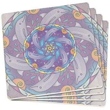 PEAPGQ9 Mandala Trippy Stained Glass Dolphins Set of 4 Square SandsTone Art Coasters