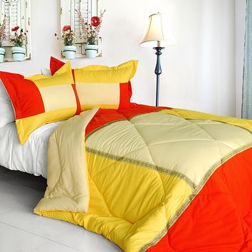 [Summer Sunrise] Quilted Patchwork Down Alternative Comforter Set (Twin Size)