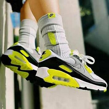 Nike Air Max 90 Popular Women Men Casual Running Sport Sneakers Shoes Grey&Fluorescent Green