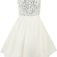 Jewelled Bust Ruffled Skirt Mini Prom Dress In Handmade