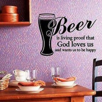 Wall Sticker Vinyl Decal Cool Design for Kitchen Beer Quote Unique Gift (ig1196)