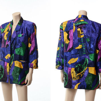 Vintage 80s Pablo Picasso Jacket 1980s Graphic Op Art New Wave Hipster Slouch Blazer Oversize Boyfriend Jacket / One Size