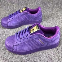 Adidas Superstar Fashion Casual Shell-toe Flats Sneakers Sport Shoes Purple G-CSXY
