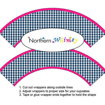 DIY Printable Patterned Cupcake Wrapper Set – hot pink and navy blue gingham cupcake wrappers - birthday or bridal shower  INSTANT DOWNLOAD