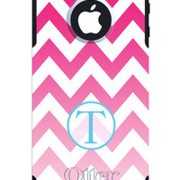 OTTERBOX COMMUTER iPhone 5 5S 5C 4/4S Case Custom Pink Chevron Gradient fade monogram initial