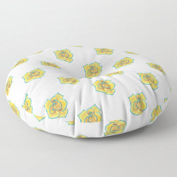 Yellow and Turquoise Rose Floor Pillow by drawingsbylam
