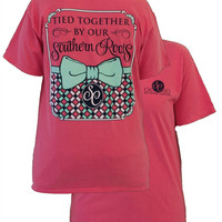 Southern Couture Preppy Tied Together By Southern Roots Pattern Bow Comfort Colors Watermelon Girlie Bright T Shirt