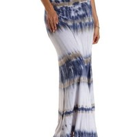 Med Blue Combo High-Waisted Tie-Dye Maxi Skirt by Charlotte Russe