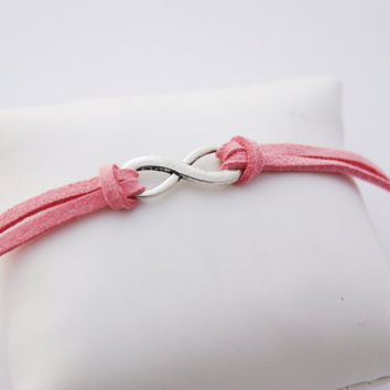 1 Strand Pink Coral Infinity Faux Leather Cord Bracelet (Adjustable Sizing)