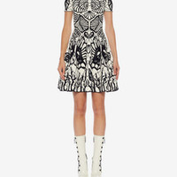 ‎‎‎‎Women‎'s ‎Ivory/Black ‎ ‎Spine Shell Jacquard Mini Dress ‎ | Alexander McQueen