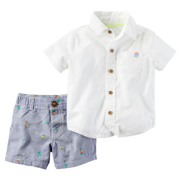 2-Piece Button-Front Shirt & Embroidered Short Set