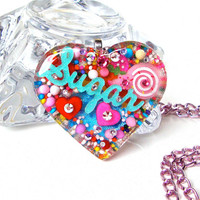 Candy girl sugar sweet sprinkles heart pendant - big candy heart pendant - colorful sprinkles resin heart pendant by Sparkle City Jewelry