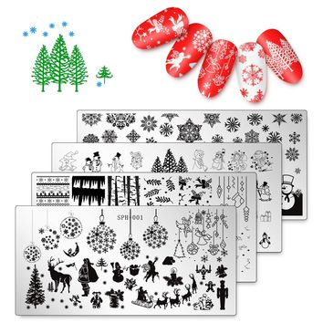 DIY Kit Christmas Nail Art Plate Whaline 4 Pieces Dear Snow  Stamp Templates