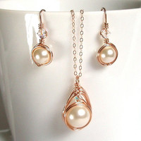 Rose Gold Jewelry Set, Swarovski Ivory Pearl Set, Brides Jewelry Set, Pearl Earring and Pendant Set, Wedding Gift for Her