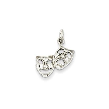 14k White Gold Polished Comedy and Tragedy Mask Charm