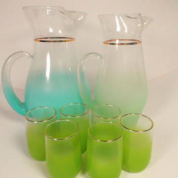 Mid Century Blendo Pitchers and Juice glasses, pretty shades of Green and Blue, sold as set. 1950s 1960s