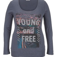 Plus Size - Young And Free Long Sleeve Tee - Gray