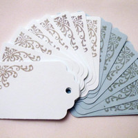 "Gift Tags/ Hang Tags/ Gift Labels/ Hanging Labels 1.75"" x 2.75"" Set of 25 All Occasion, blue tag/ Die cut/ Scrapbook tag"