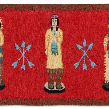 Cigar Store Indian Hooked Rug 2ʹL X 4ʹW