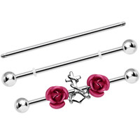 Pink Roses Anchor Adjustable Interchangeable Industrial Barbell Set | Body Candy Body Jewelry