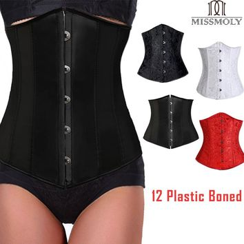 Miss Moly Steampunk Underbust Corset Women Waist Slimming Bustier Modeling Belt Lace Up Tummy Control Body Shaper Plus Size