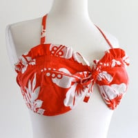 60s Cotton Sunshine Hawaii Halter Bikini Top Bra Pin Up Kitten Swimwear Rockabilly . B / C Cup . D023 . No.243.4.9.13