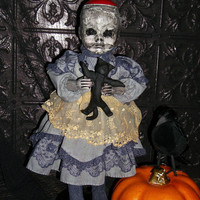 Ghoulish Haunted Creepy Weird Spooky OOAK Altered Art Prop Doll Halloween Freak Scary
